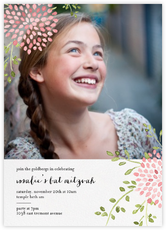Dahlias (Photo) - Pink - Paperless Post - Bat and Bar Mitzvah Invitations