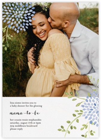 Dahlias (Photo) - Blue - Paperless Post - Baby Shower Invitations