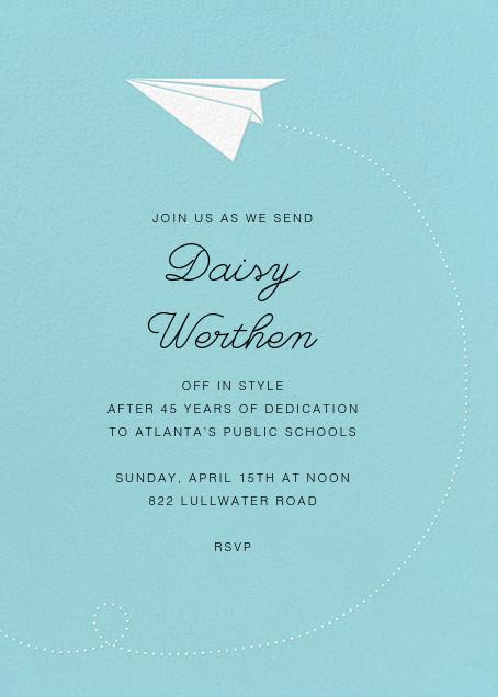 Paper Plane - Paperless Post - Retirement invitations, farewell invitations