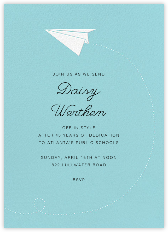 Paper Plane - Paperless Post - Retirement invitations, farewell invitations