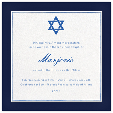 Copeland - Navy and Lapis Lazuli - Paperless Post - Bat and Bar Mitzvah Invitations