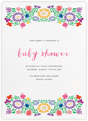Oaxacan (Tall) - White - Paperless Post - Baby Shower Invitations