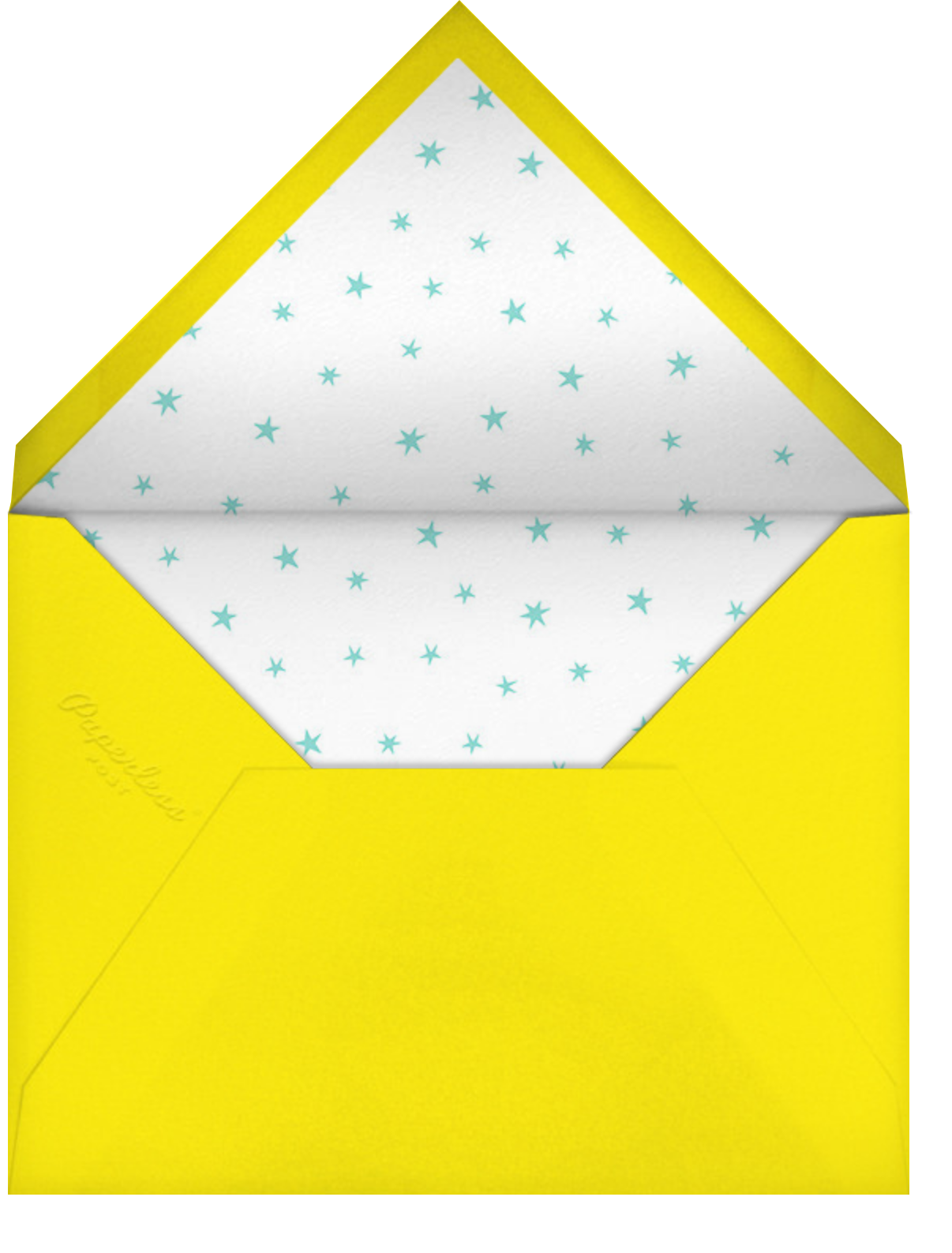 Stars over Tiny Town - Blue/Yellow - Little Cube - Baby shower - envelope back