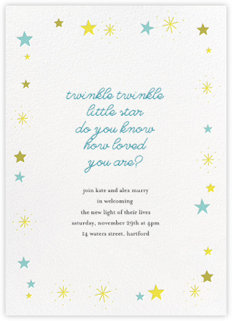 Stars over Tiny Town - Blue/Yellow - Little Cube - Baby Shower Invitations
