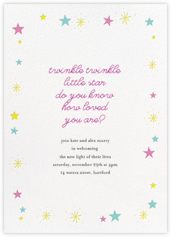 Stars over Tiny Town - Pink/Blue - Little Cube - Baby Shower Invitations
