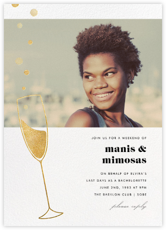 Champagne Bubbles (Photo) - Gold - Paperless Post - Bachelorette party invitations