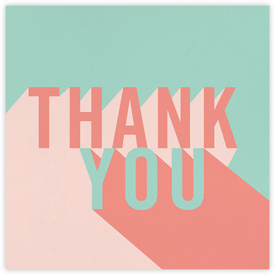 Featured Thanks - Celadon/Papaya - Paperless Post - Thank you cards