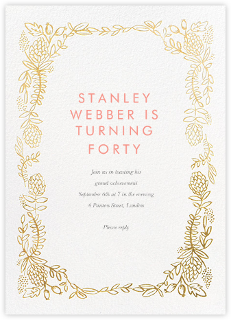 Botanical Lace - Gold - Rifle Paper Co. - Adult Birthday Invitations