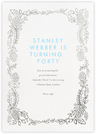Botanical Lace - Silver - Rifle Paper Co. - Adult Birthday Invitations