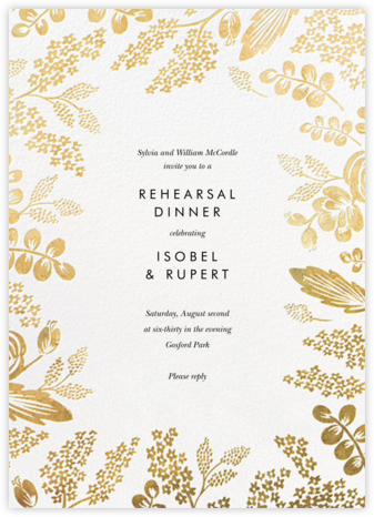 Heather and Lace (Invitation) - White/Gold - Rifle Paper Co. - Wedding Weekend Invitations