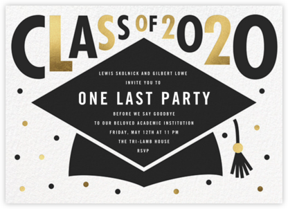 Mortarboard Bash - White - Paperless Post -