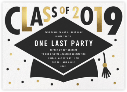 Mortarboard Bash - White - Paperless Post - Celebration invitations