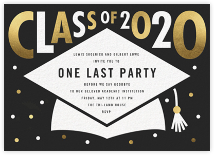 Mortarboard Bash - Caviar - Paperless Post - Graduation Party Invitations