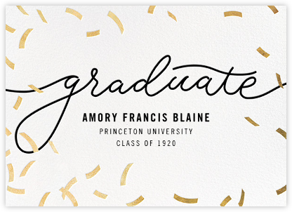Confetti Commencement (Announcement) - Gold - Paperless Post - Graduation announcements