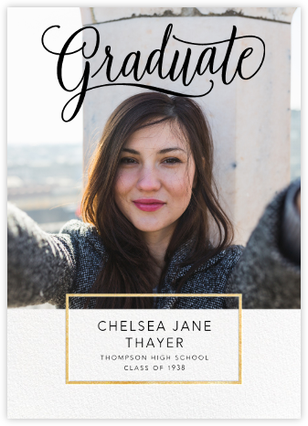 Calligraphed Grad - Gold - Paperless Post - Graduation Announcements