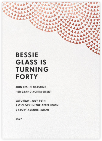 Savoy (Tall) - Rose Gold - Paperless Post - Adult Birthday Invitations