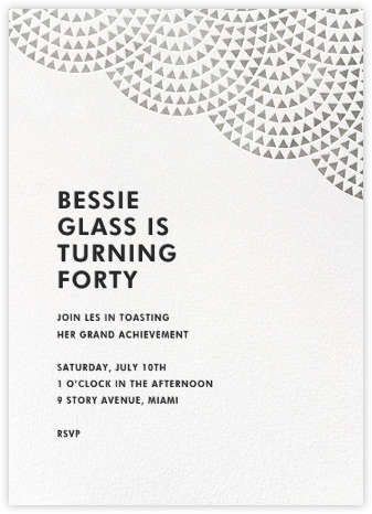 Savoy (Tall) - Silver - Paperless Post - Adult Birthday Invitations