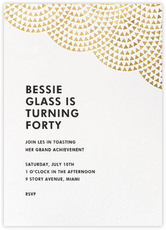 Savoy (Tall) - Gold - Paperless Post - Adult Birthday Invitations
