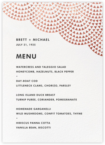 Savoy (Menu) - Rose Gold - Paperless Post - Wedding menus and programs - available in paper