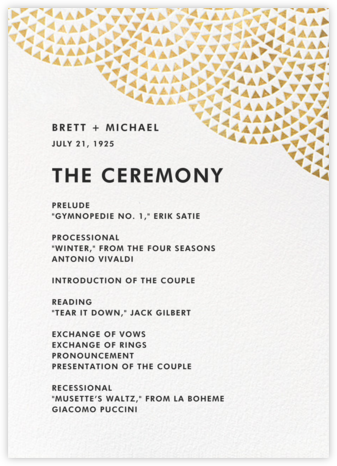 Savoy (Program) - Gold - Paperless Post - Wedding menus and programs - available in paper