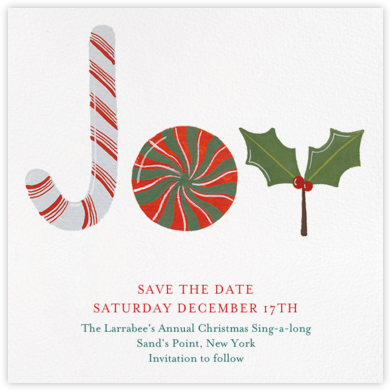Joy to the World of Sweets - Paperless Post - Holiday save the dates