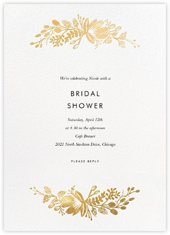 Floral Silhouette - White/Gold - Rifle Paper Co. - Bridal shower invitations