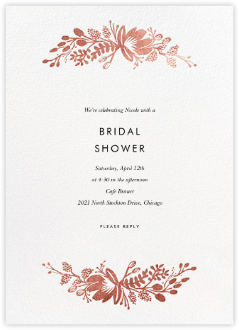 Floral Silhouette - White/Rose Gold - Rifle Paper Co. - Bridal shower invitations