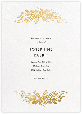 Floral Silhouette - White/Gold - Rifle Paper Co. - Baby Shower Invitations