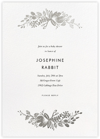 Floral Silhouette - White/Silver - Rifle Paper Co. - Baby Shower Invitations