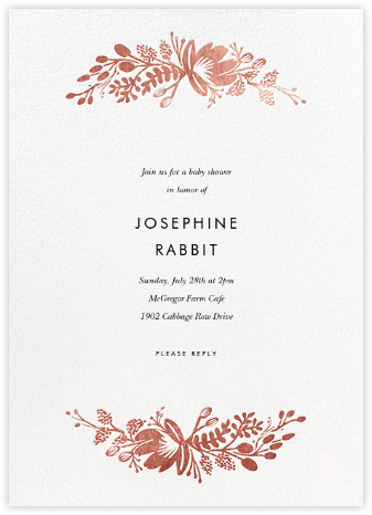 Floral Silhouette - White/Rose Gold - Rifle Paper Co. - Baby Shower Invitations