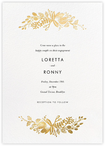 Floral Silhouette - White/Gold - Rifle Paper Co. - Engagement party invitations