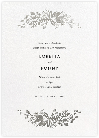 Floral Silhouette - White/Silver - Rifle Paper Co. - Engagement party invitations