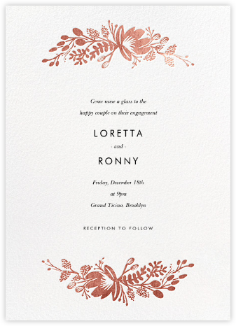 Floral Silhouette - White/Rose Gold - Rifle Paper Co. - Engagement party invitations