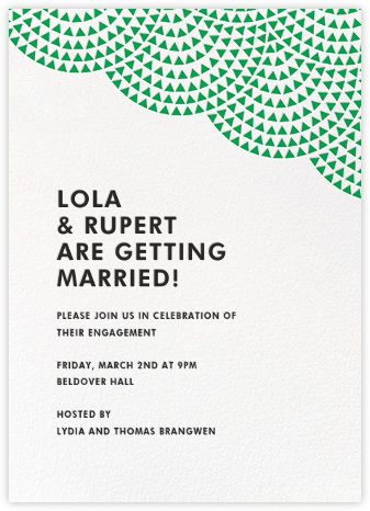 Savoy (Tall) - Emerald - Paperless Post - Engagement party invitations