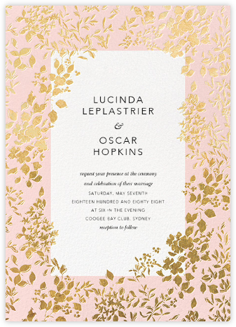 Richmond Park (Invitation) - Pink/Gold - Oscar de la Renta - Wedding Invitations