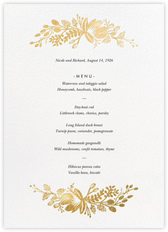 Floral Silhouette (Menu) - White/Gold - Rifle Paper Co. - Wedding menus and programs - available in paper