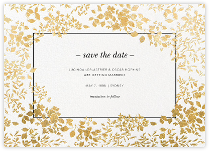 Richmond Park (Save the Date) - White/Gold - Oscar de la Renta - Gold and metallic save the dates