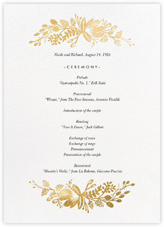 Floral Silhouette (Program) - White/Gold - Rifle Paper Co. - Rifle Paper Co. Wedding