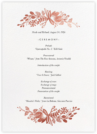 Floral Silhouette (Program) - White/Rose Gold - Rifle Paper Co. - Rifle Paper Co. Wedding