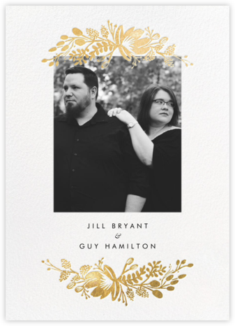Floral Silhouette (Portrait Photo) - White/Gold - Rifle Paper Co. - Wedding Invitations