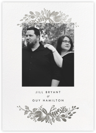Floral Silhouette (Portrait Photo) - White/Silver - Rifle Paper Co. - Wedding Invitations