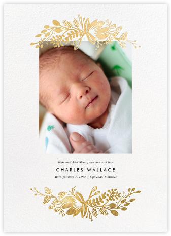 Floral Silhouette (Portrait Photo) - White/Gold - Rifle Paper Co. - Birth Announcements