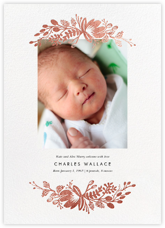 Floral Silhouette (Portrait Photo) - White/Rose Gold - Rifle Paper Co. - Birth announcements