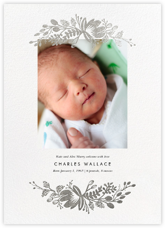 Floral Silhouette (Portrait Photo) - White/Silver - Rifle Paper Co. - Birth Announcements
