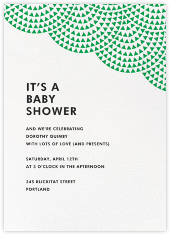 Savoy (Tall) - Emerald - Paperless Post - Baby Shower Invitations