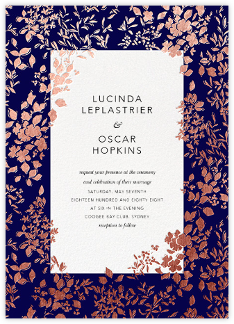 Richmond Park (Invitation) - Navy/Rose Gold - Oscar de la Renta - Wedding Invitations