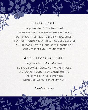 Richmond Park (Invitation) - Navy/Rose Gold - Oscar de la Renta - All - insert front