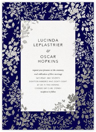 Richmond Park (Invitation) - Navy/Silver - Oscar de la Renta - Wedding Invitations