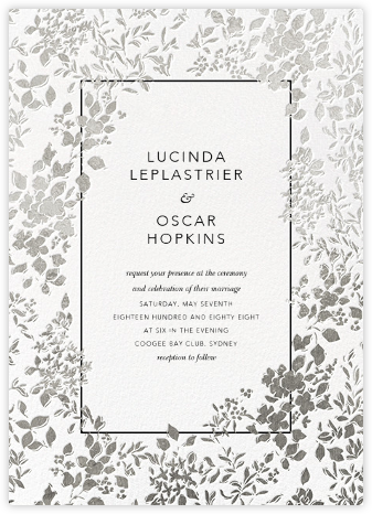 Richmond Park (Invitation) - White/Silver - Oscar de la Renta - Wedding Invitations