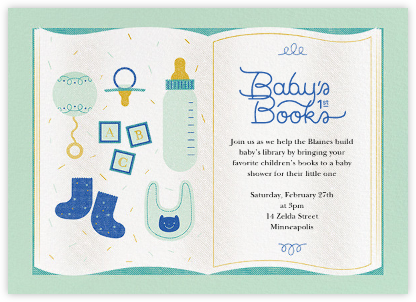 Baby's First Library - Mint - Paperless Post - Baby shower invitations